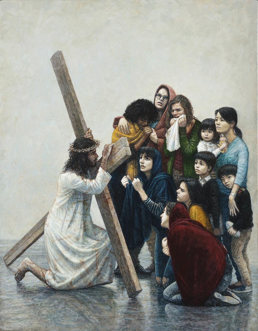 Peinture - JÉSUS RENCONTRE LES FEMMES DE JÉRUSALEM