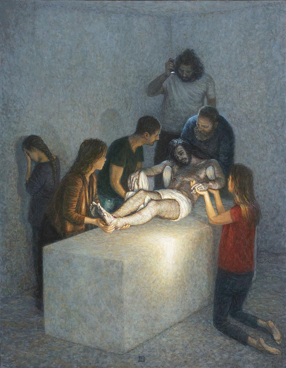 Peinture - JÉSUS EST MIS AU TOMBEAU