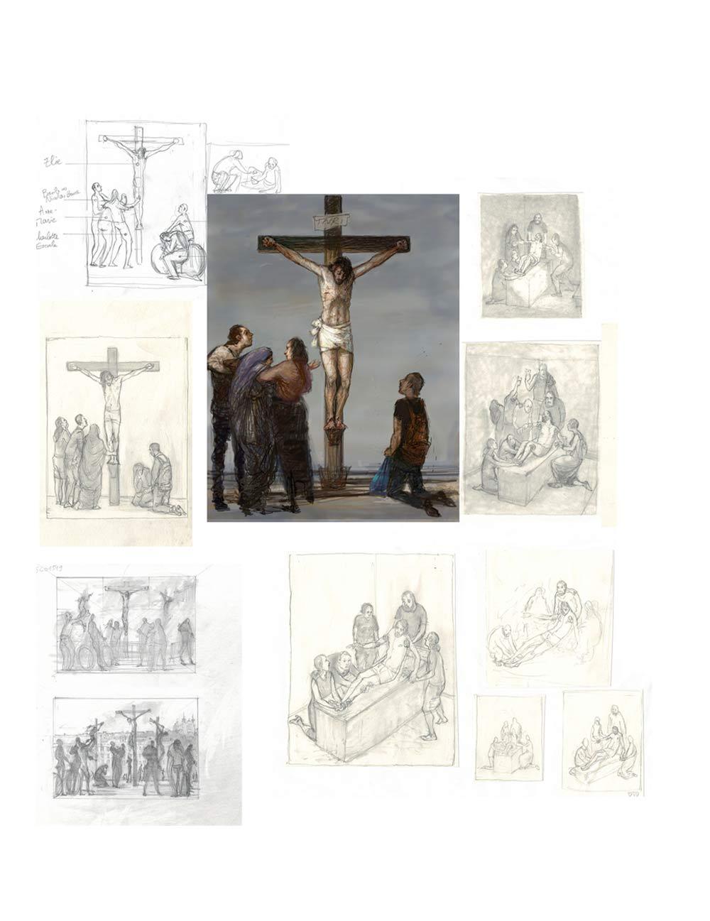 Croquis chemin de croix Bruno Desroche Planche 7