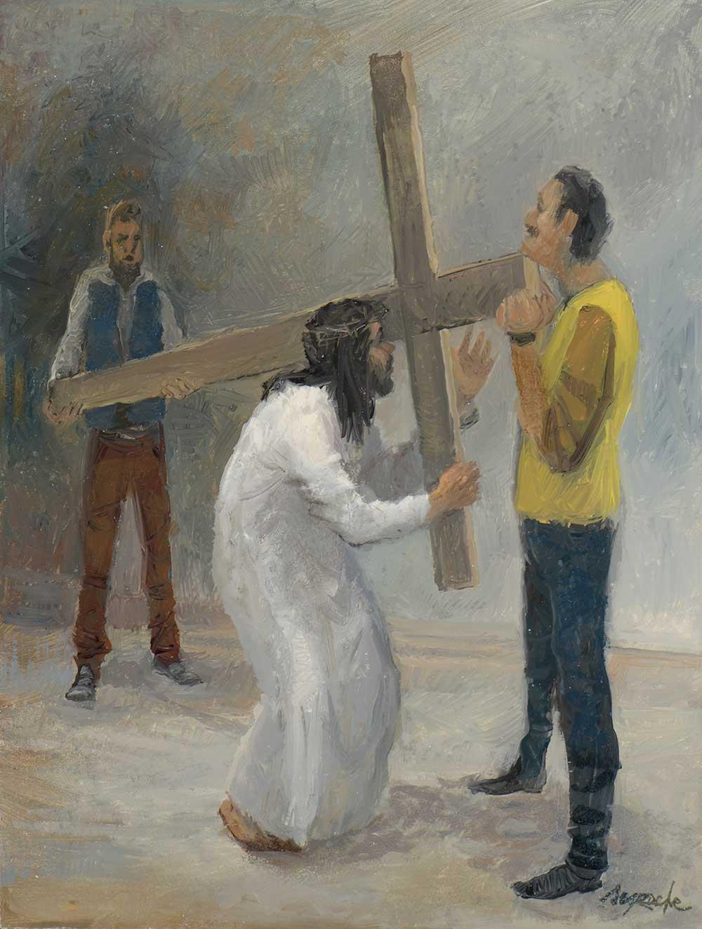 Esquisse jésus est chargé de sa croix