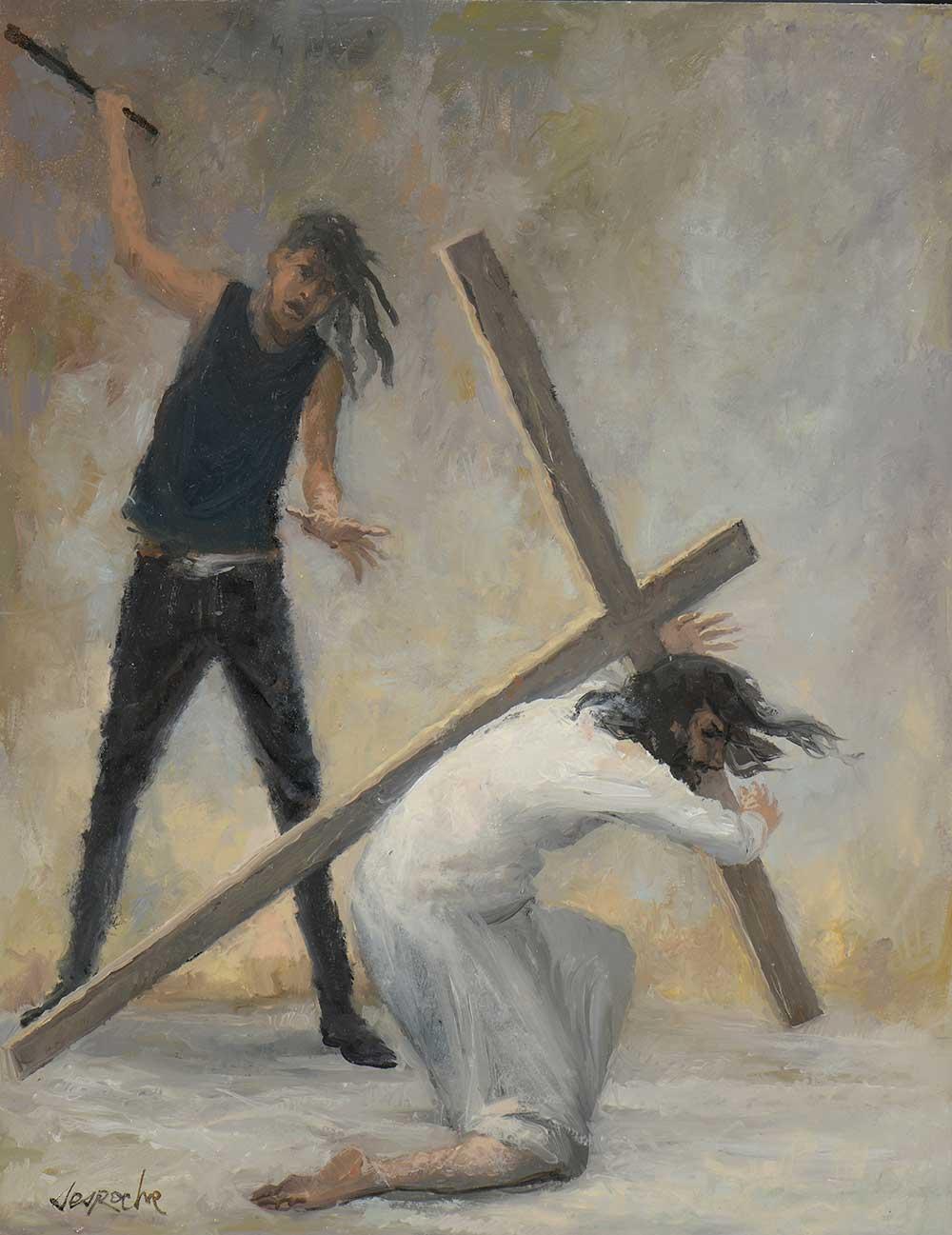 Esquisse Jésus tombe pour la première fois