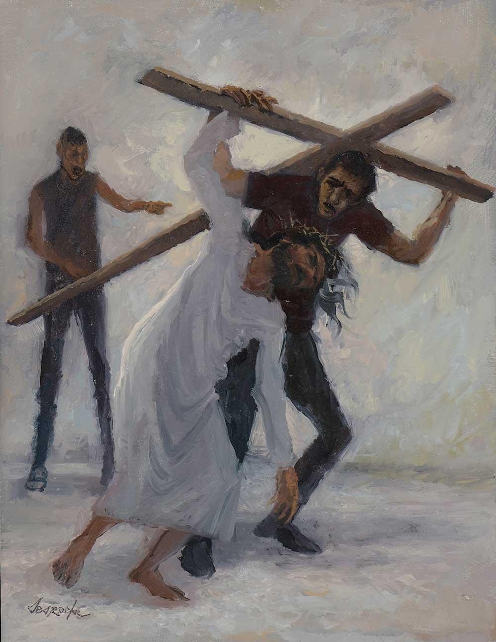 Esquisse Jésus est aidé par Simon de Cyrène