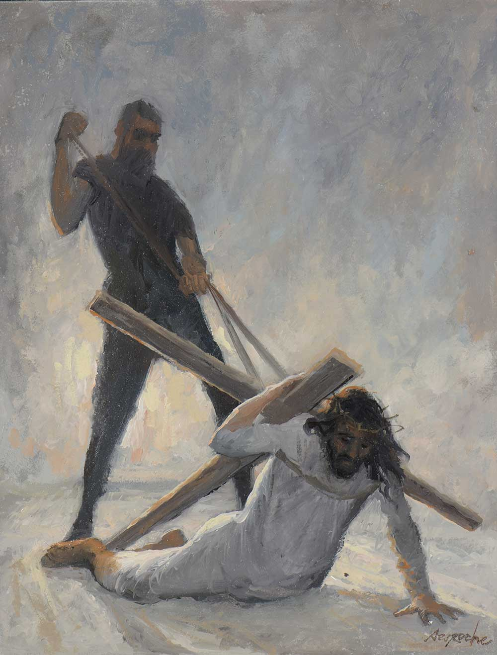 Esquisse Jésus tombe pour la deuxième fois