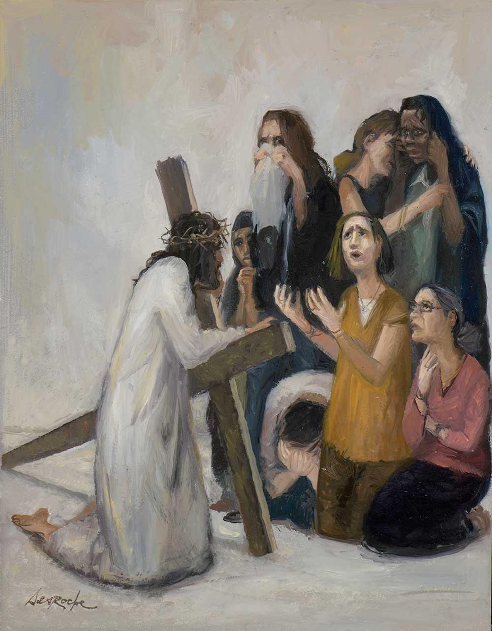 Esquisse Jésus rencontre les femmes de Jérusalem