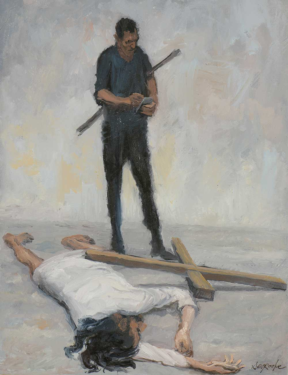 Esquisse Jésus tombe pour la troisième fois