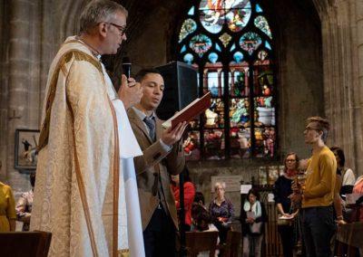 inauguration du Chemin de Croix de Bruno Desroche à Saint Nizier par le père Jeanson le 21 sept 2019