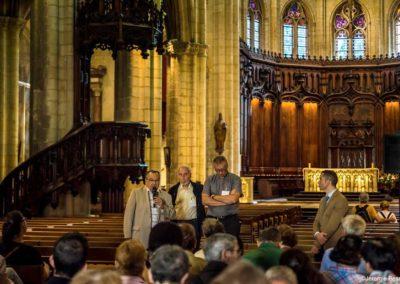 Prise de parole de Jean-Dominique Durant, adjoint à la culture et patrimoine du Grand Lyon lors de l'inauguration du Chemin de Croix de Bruno Desroche à Saint Nizier